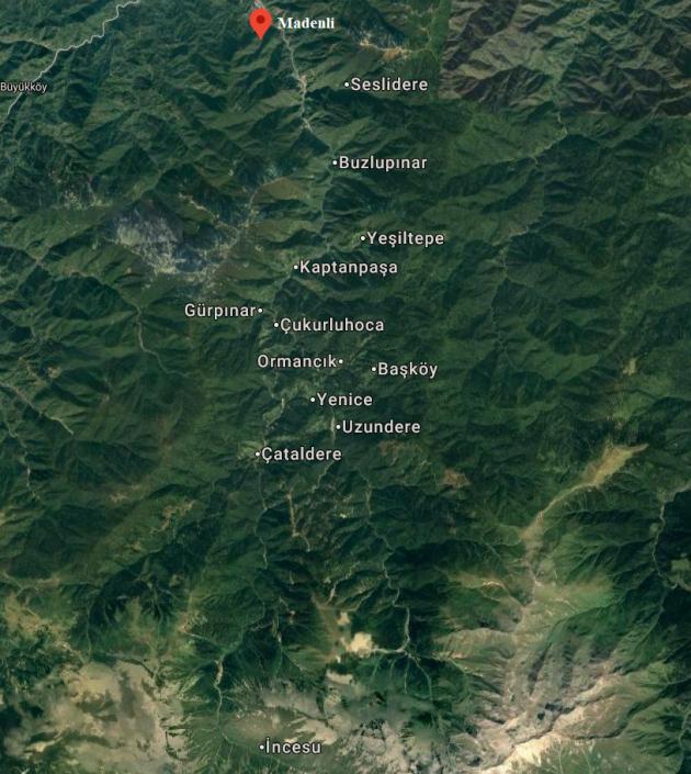 Senoz Yöresi Haritası